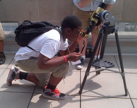 Peeking through a telescope